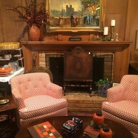 Matching occasional chairs, framed art, antique fire screen, home decor