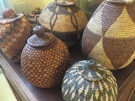 various handwoven baskets - many from Botswana