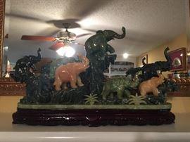 Jade elephant statue  12.25tx 22wx 5d