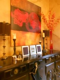Over sized buffet table, with lacquer art above.