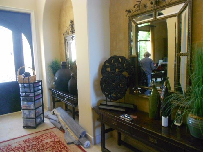 Two matching tables and two matching mirrors.  Mirrors possibly La Barge.