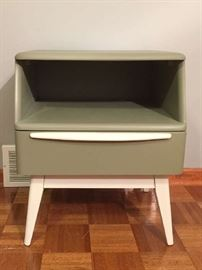 Heywood Wakefield Encore nightstand with glass top, professionally painted with Benjamin Moore paint