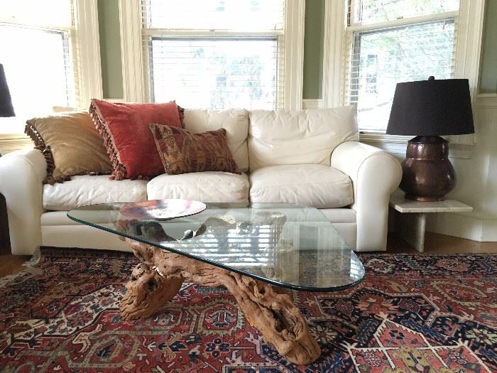 Pair of Leather Sofas, Driftwood Coffee Table, Marble End Tables, Copper Lamps, Antique Heriz Room Rug