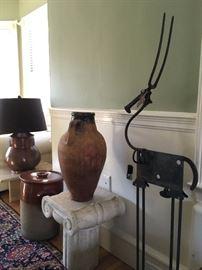 Marble Pedestal, Bill Heise Metal Sculpture, Antique Handled Jug, Crock