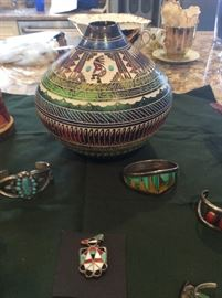 Myron Charley Navajo horsehair pot