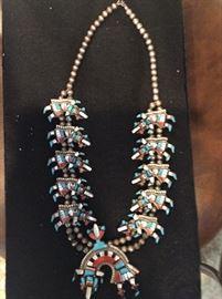 Large Zuni inlaid Rainbow Dancer necklace.  Stunning.