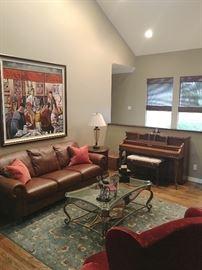 Sofas, rugs, art