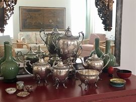 Sheffield Silver Tea Service & Samovar