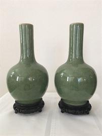 Pair Celadon Crackle Vases
