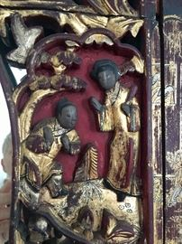 Antique Chinese Wedding Bed Panel Detail