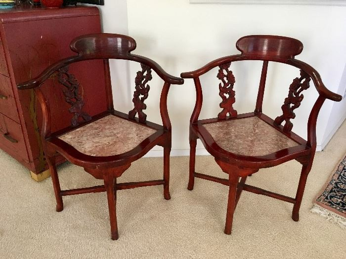 Pair Chinese Corner Chairs with Marble Seats