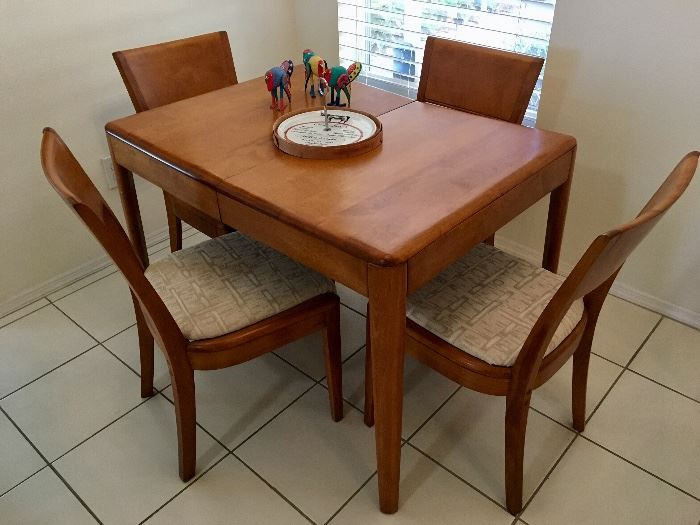 Mid Century Walnut Table and Four Chairs