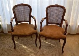 BUY IT NOW!  Lot #501, Pair of Vintage Carved Wood Arm Chairs with Rattan Backs, Upholstered Seats & Nailhead Trim, $300, (Very Good Condition with Expected Pre-owned Wear)