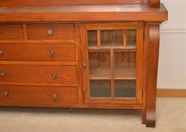 """SOLD--  Lot #500, Antique Oak Sideboard / Buffet with Mirror, $700, (Good Condition with Expected Pre-owned Wear), Measures approx. 90"""" L x 21.2"""" W x 59.5"""" H"""