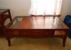"""SOLD--Lot #502, Traditional Cocktail / Coffee Table with Glass Insets & Drawers on Both Sides, $150, (Very Good Condition with Expected Pre-owned Wear), Measures approx. 52"""" L x 30"""" W x 20"""" H"""