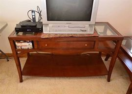 """BUY IT NOW!  Lot #503, Traditional Console Table with Glass Insets & Drawer, $150, (Very Good Condition with Expected Pre-owned Wear), Measures approx. 52"""" L x 20"""" W x 29"""" H"""