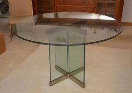 Vintage Round Thick Glass Dining Table & 4 Chairs (Brass Accents)