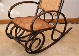 SOLD--Lot #504, Vintage Bentwood Rocker / Rocking Chair with Rattan Back & Seat, $80, (Very Good Condition with Expected Pre-owned Wear)
