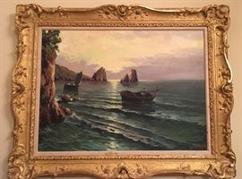 Oil on Canvas Sea Scape Listed Artist: C Ciappa