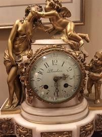Antique French Bronze Marble base Planchon Figural Clock
