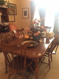 Hard rock maple dining table, chairs and hutch