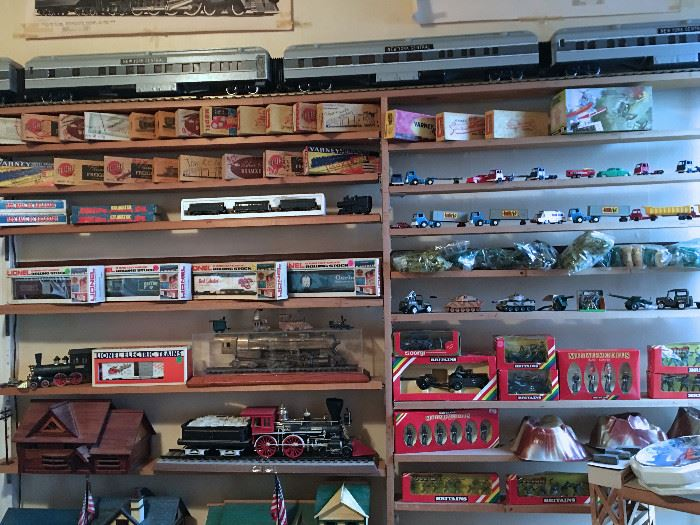 HUGE COLLECTION OF LARGE SCALE TRAINS, STRUCTURES, TRAIN KITS, TRACKS, VINTAGE CAST BRITIANS  SOLDIERS AND MORE