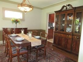 Gorgeous Hickory Chair breakfront, dining table and chairs and buffet