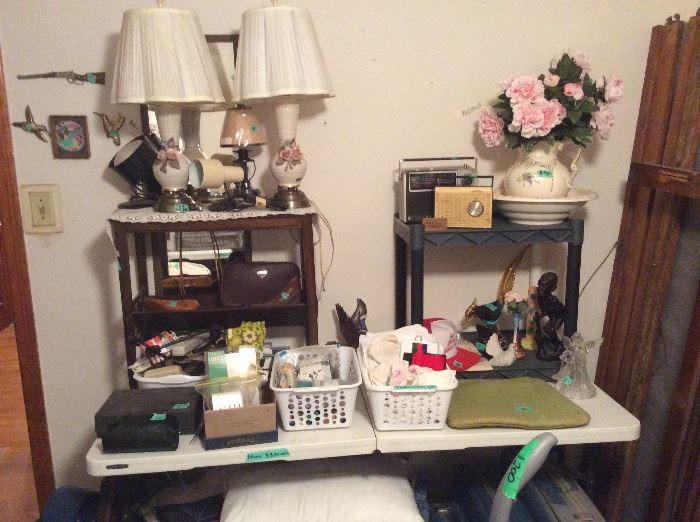Various home decor, vintage stool, vintage lamps, other lights