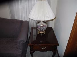 End table, Asian style cloisonne lamp