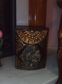 Antique Hand Painted Gun Powder Box!