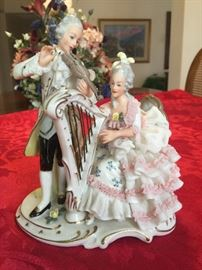 Dresden, Porcelain lace lady and man playing violin and harp figurine