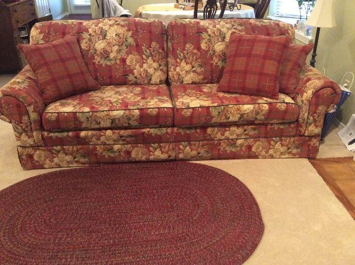 Sofa in main living area, rug