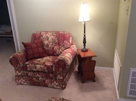 Matching chair to sofa, magazine table, lamp 1 of 2