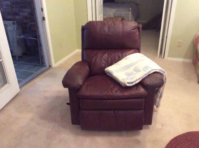 Leather La-Z-Boy rocker recliner, quilt