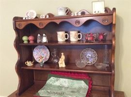 Close up of collectibles on hutch
