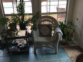 Sunroom wicker Chair, table & lamp