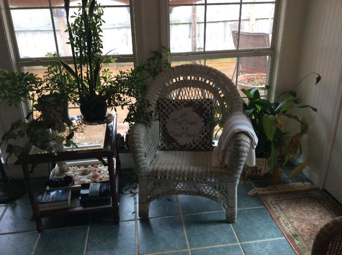 Sunroom wicker Chair, table & lamp