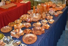 TABLES AND TABLES of Vintage Carnival Glass