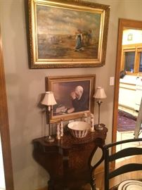 Antique Painting, Antique Console Table with Inlay, Lenox