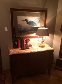 Italian Marble Top Chest with Inlay (one of pair), Blue Herrond Audubon Print,  Brass Bouillotte Lamp w/ Tole Shade (one of pair), Japanese Bronze Incense