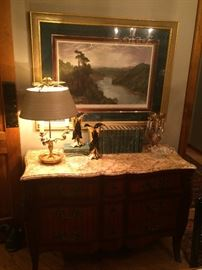 Italian Marble Top Chest with Inlay (one of pair), Hand Colored Lithograph, Brass Bouillotte Lamp w/ Tole Shade (one of pair), Pr. Black & Gold Camark Vases,  single Moser Glass Luster