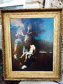"""Oil on canvas painting by Johann Liss """"Sacrafice of Isaac"""" circa 1620"""