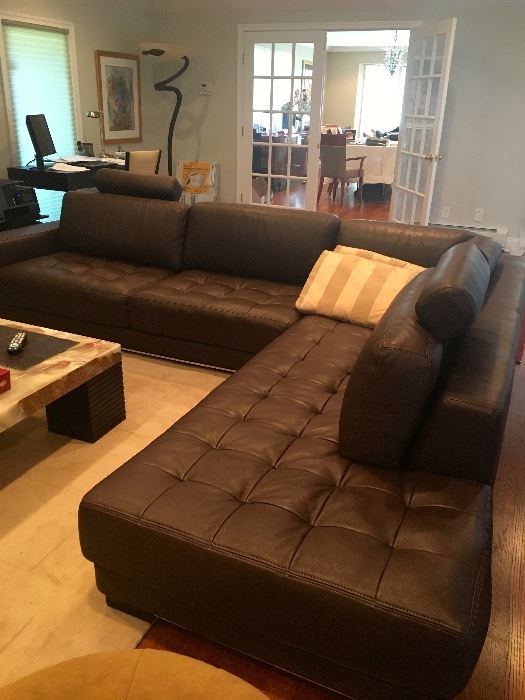 Delightful Fab Maurice Villency Black Leather Sectional Sofa