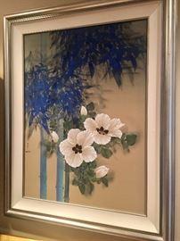 David Lee original floral on silk