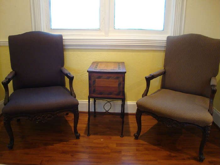 Pair of Claw Foot Arm Chairs, File Box Table