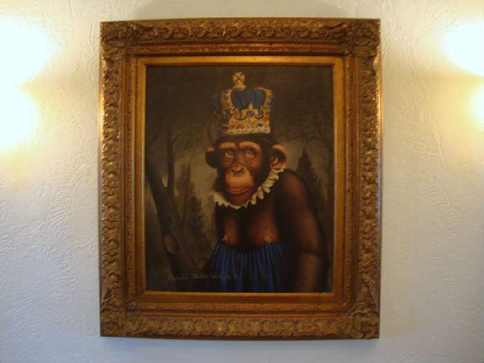 "Large Oil Painting of Monkey, ""Jimmy Returns to Manhattan""  Donald Roller Wilson"