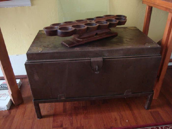 Metal Chest on Legs and  African Bao game board