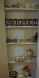 Pewter Glasses, Cup and Saucers, Silver, Etc