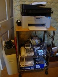 Office Supplies, Rolling Cart, Printer that works, Shredder, Misc