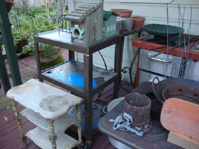 Rolling Cart, Shabby Table, etc